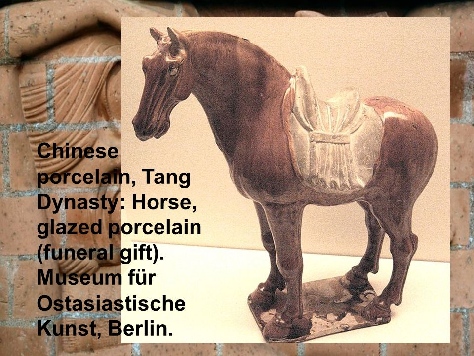 Chinese porcelain, Tang Dynasty: Horse, glazed porcelain (funeral gift).