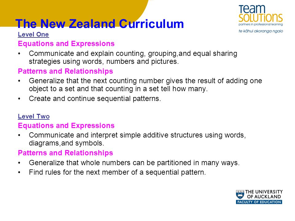The New Zealand Curriculum Level One Equations and Expressions Communicate and explain counting, grouping,and equal sharing strategies using words, numbers and pictures.