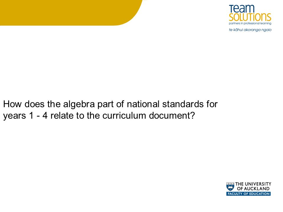 How does the algebra part of national standards for years relate to the curriculum document