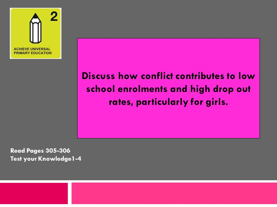 Discuss how conflict contributes to low school enrolments and high drop out rates, particularly for girls. Read Pages 305-306 Test your Knowledge1-4
