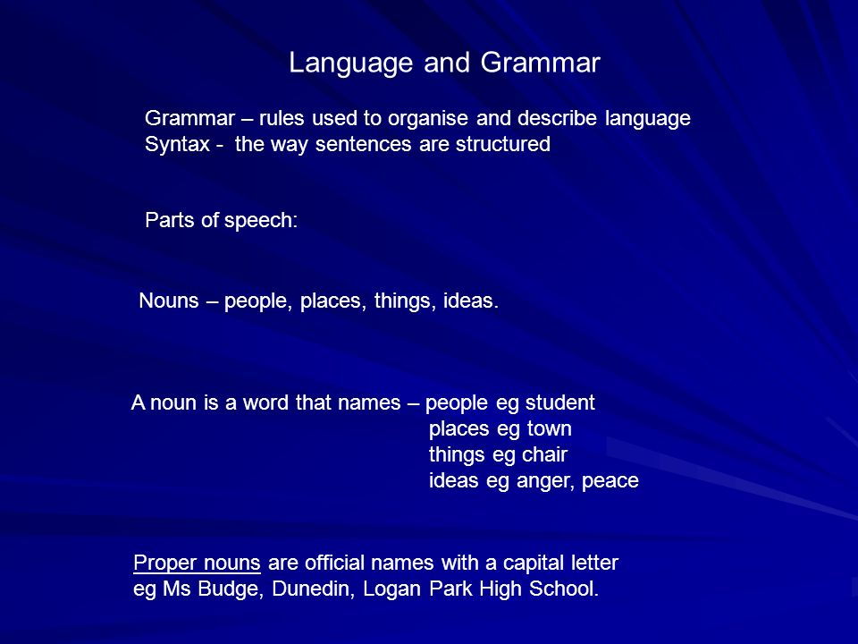 Language and Grammar Grammar – rules used to organise and describe language Syntax - the way sentences are structured Parts of speech: Nouns – people,