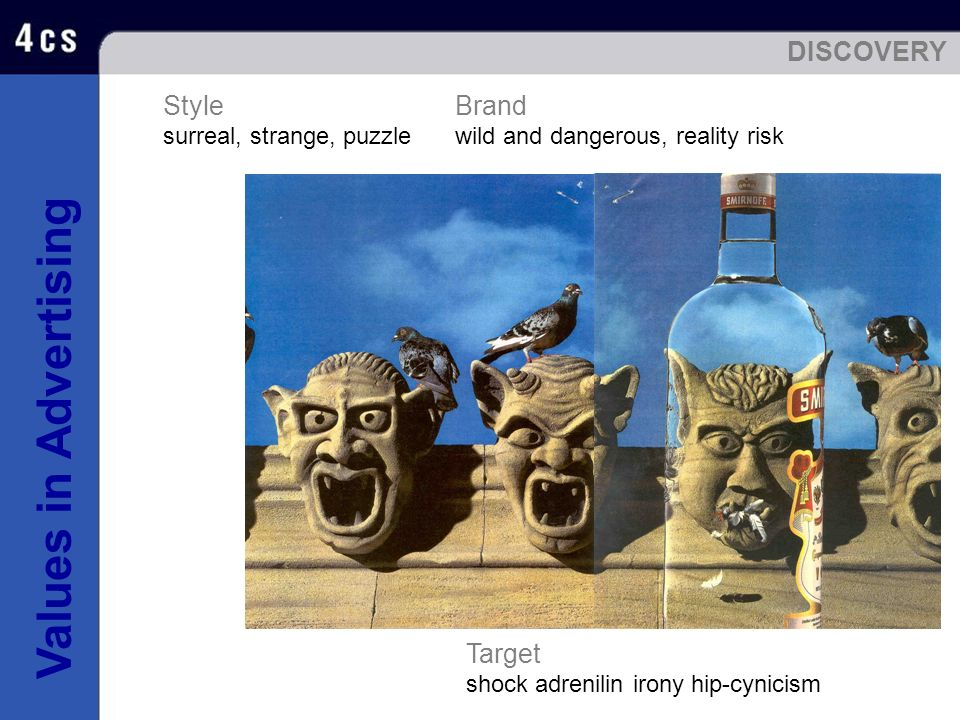 Values in Advertising Brand wild and dangerous, reality risk Style surreal, strange, puzzle Target shock adrenilin irony hip-cynicism DISCOVERY