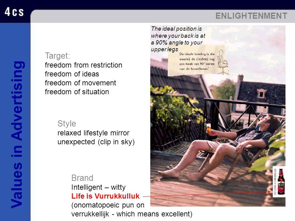 Values in Advertising Brand Intelligent – witty Life is Vurrukkulluk (onomatopoeic pun on verrukkellijk - which means excellent) Target: freedom from