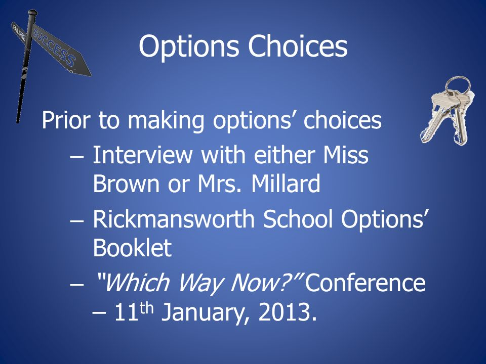 Options Choices Prior to making options choices – Interview with either Miss Brown or Mrs.