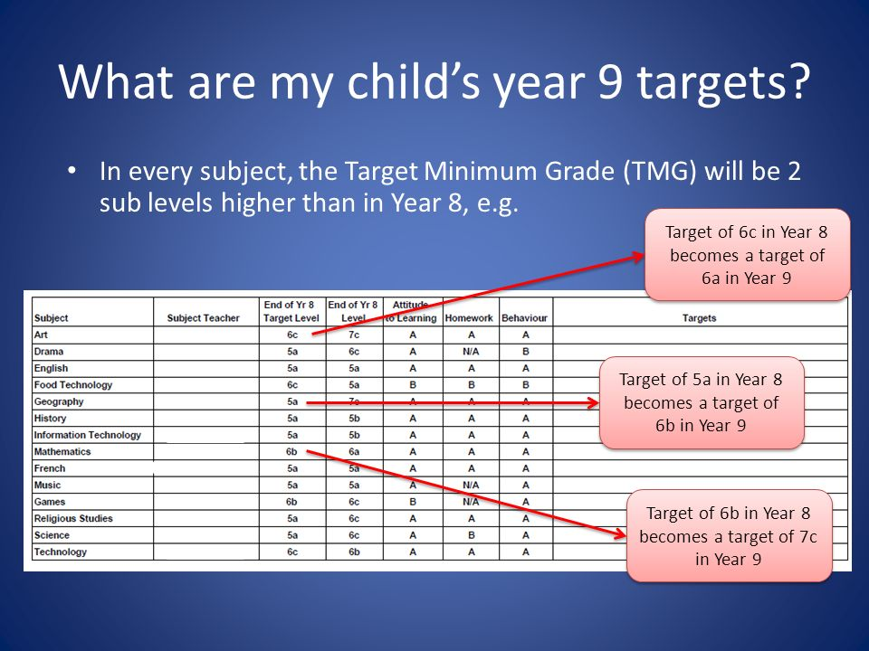 What are my childs year 9 targets.