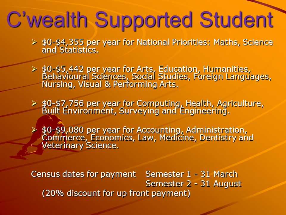 Cwealth Supported Student $0-$4,355 per year for National Priorities: Maths, Science and Statistics.
