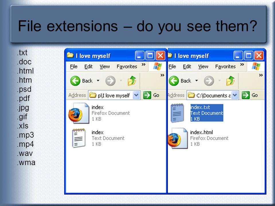 File extensions – do you see them?.txt.doc.html.htm.psd.pdf.jpg.gif.xls.mp3.mp4.wav.wma