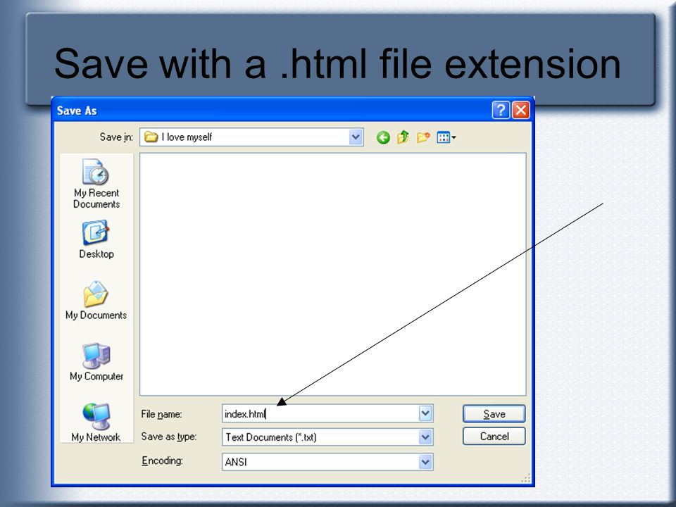 Save with a.html file extension
