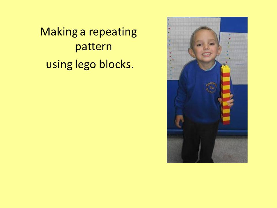 Making a repeating pattern using lego blocks.