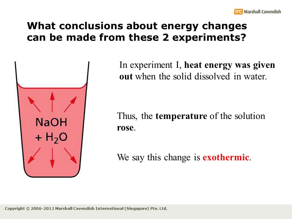 Copyright © 2006-2011 Marshall Cavendish International (Singapore) Pte. Ltd. What conclusions about energy changes can be made from these 2 experiment