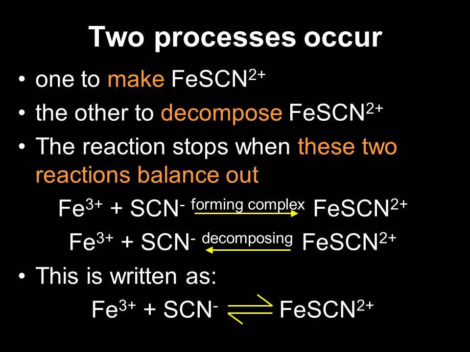 Two processes occur one to make FeSCN 2+ the other to decompose FeSCN 2+ The reaction stops when these two reactions balance out Fe 3+ + SCN - forming