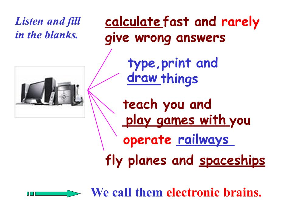 _______fast and rarely give wrong answers type,print and ____things teach you and _____________you operate _______ fly planes and ________ We call them electronic brains.