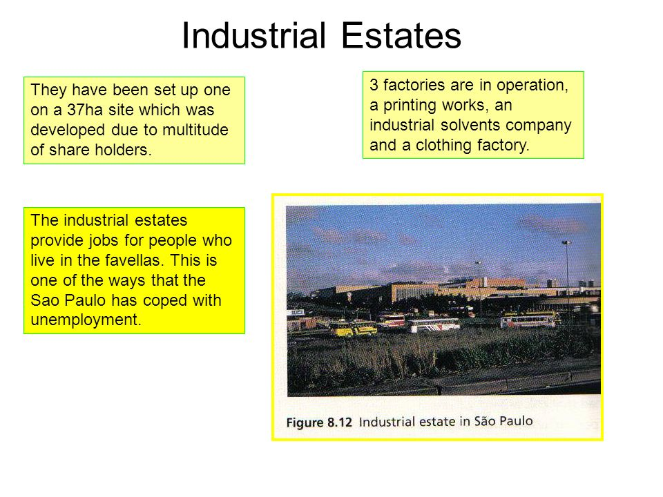 Industrial Estates They have been set up one on a 37ha site which was developed due to multitude of share holders. 3 factories are in operation, a pri