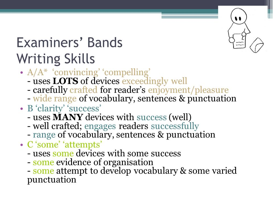 Examiners Bands Writing Skills A/A* convincing compelling - uses LOTS of devices exceedingly well - carefully crafted for readers enjoyment/pleasure - wide range of vocabulary, sentences & punctuation B clarity success - uses MANY devices with success (well) - well crafted; engages readers successfully - range of vocabulary, sentences & punctuation C some attempts - uses some devices with some success - some evidence of organisation - some attempt to develop vocabulary & some varied punctuation
