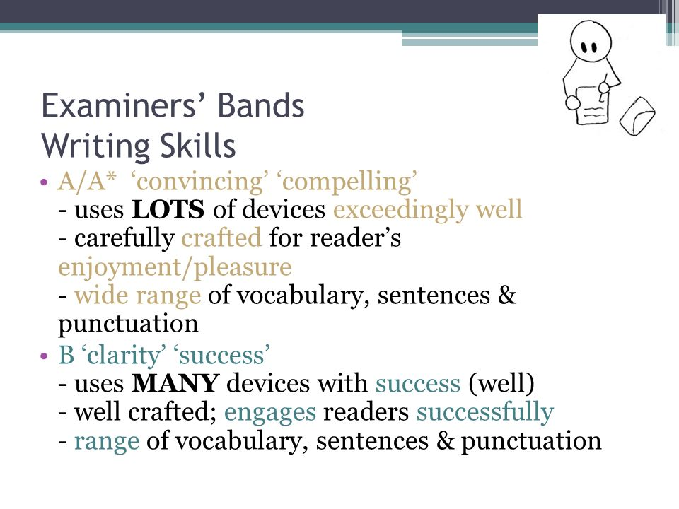 Examiners Bands Writing Skills A/A* convincing compelling - uses LOTS of devices exceedingly well - carefully crafted for readers enjoyment/pleasure - wide range of vocabulary, sentences & punctuation B clarity success - uses MANY devices with success (well) - well crafted; engages readers successfully - range of vocabulary, sentences & punctuation
