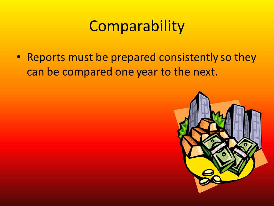 Comparability Reports must be prepared consistently so they can be compared one year to the next.
