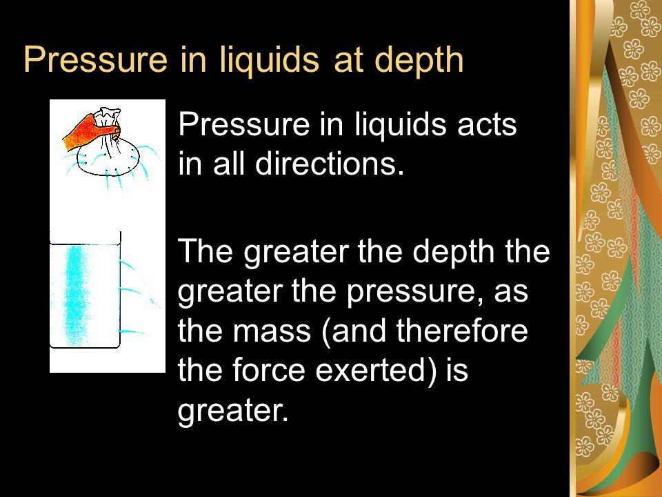 Pressure in liquids