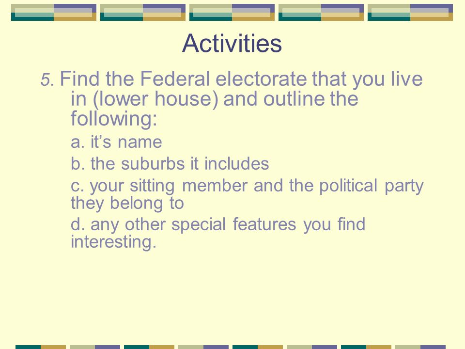 Activities 5. Find the Federal electorate that you live in (lower house) and outline the following: a. its name b. the suburbs it includes c. your sit