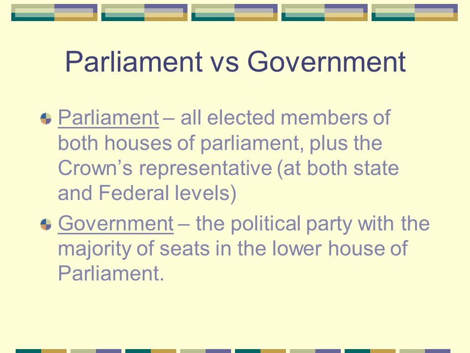 Parliament vs Government Parliament – all elected members of both houses of parliament, plus the Crowns representative (at both state and Federal levels) Government – the political party with the majority of seats in the lower house of Parliament.