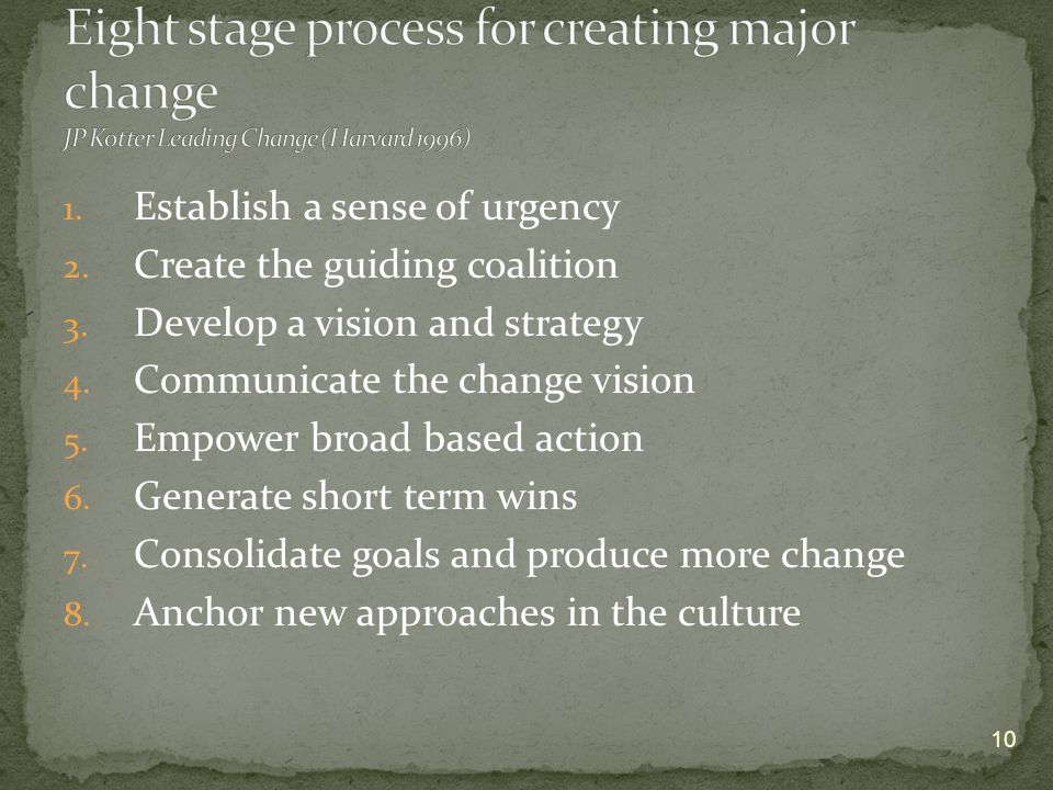 1. Establish a sense of urgency 2. Create the guiding coalition 3. Develop a vision and strategy 4. Communicate the change vision 5. Empower broad bas