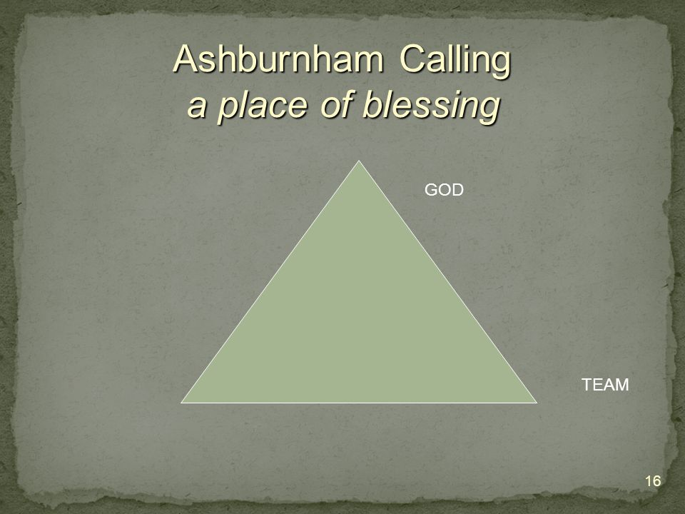 16 Ashburnham Calling a place of blessing GOD TEAM