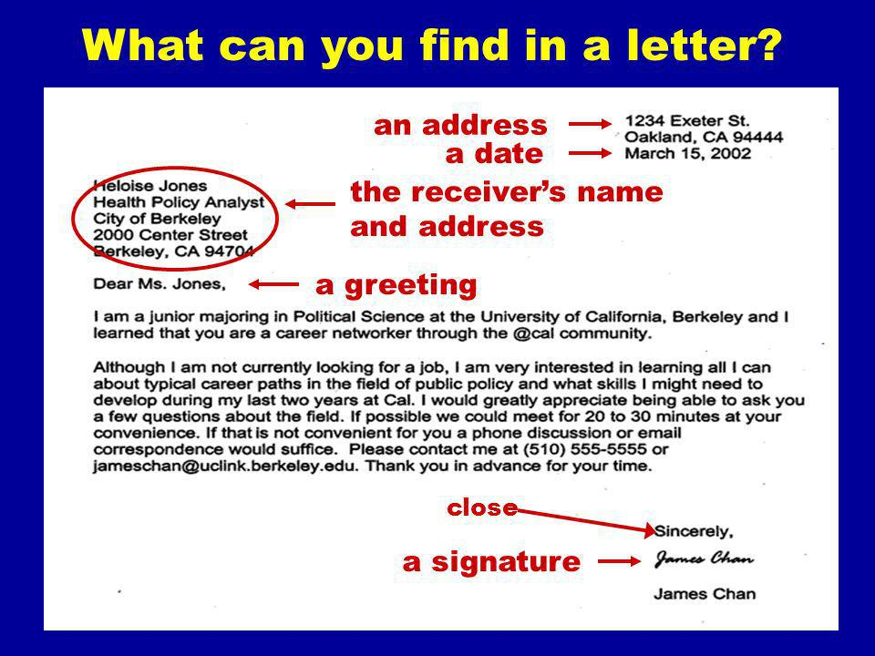 What can you find in a letter? an address a date a greeting a signature the receivers name and address close Best wishes