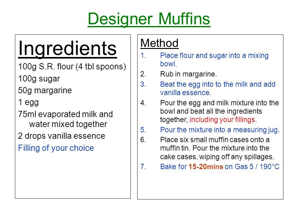 Designer Muffins Ingredients 100g S.R.
