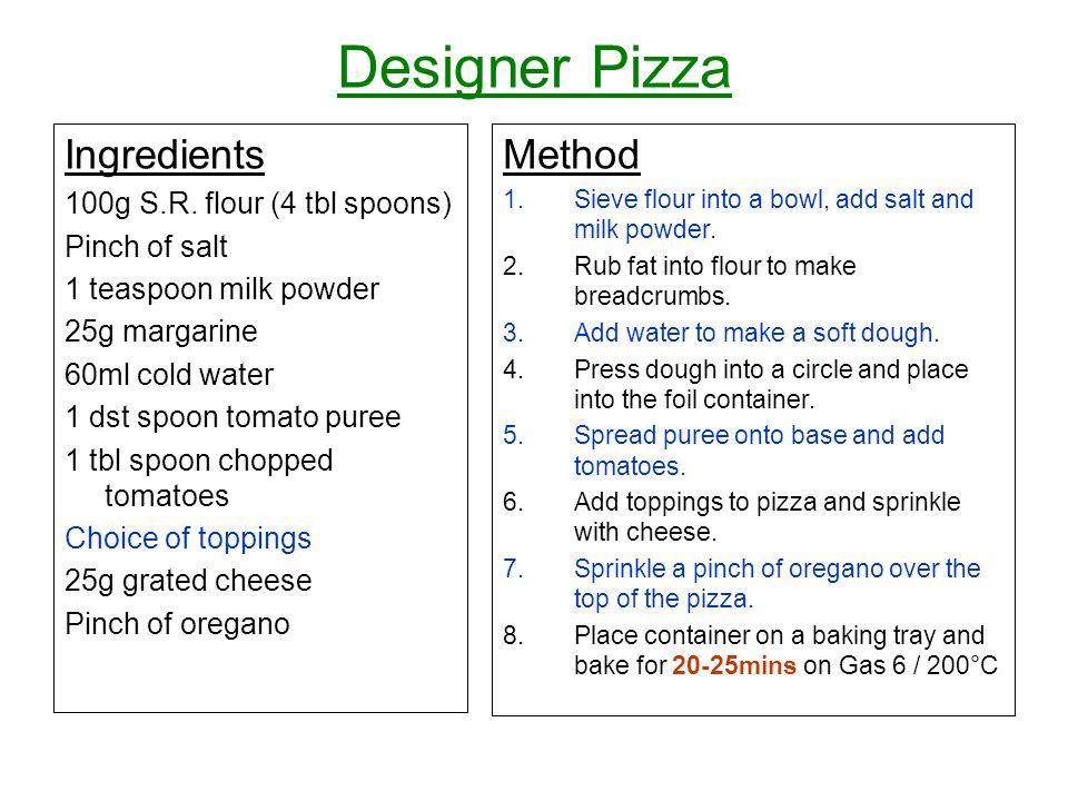 Designer Pizza Ingredients 100g S.R.