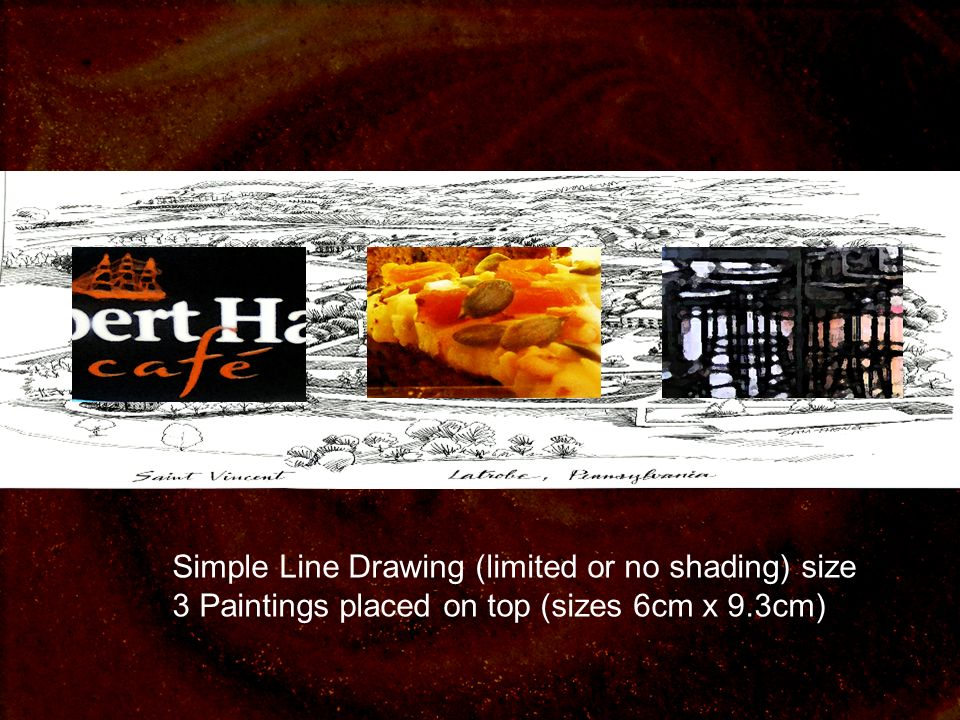 Simple Line Drawing (limited or no shading) size 3 Paintings placed on top (sizes 6cm x 9.3cm)