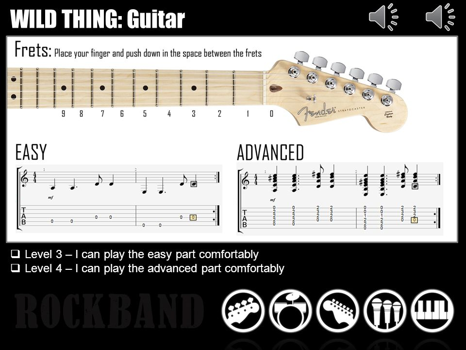 WILD THING: Guitar Level 3 – I can play the easy part comfortably Level 4 – I can play the advanced part comfortably
