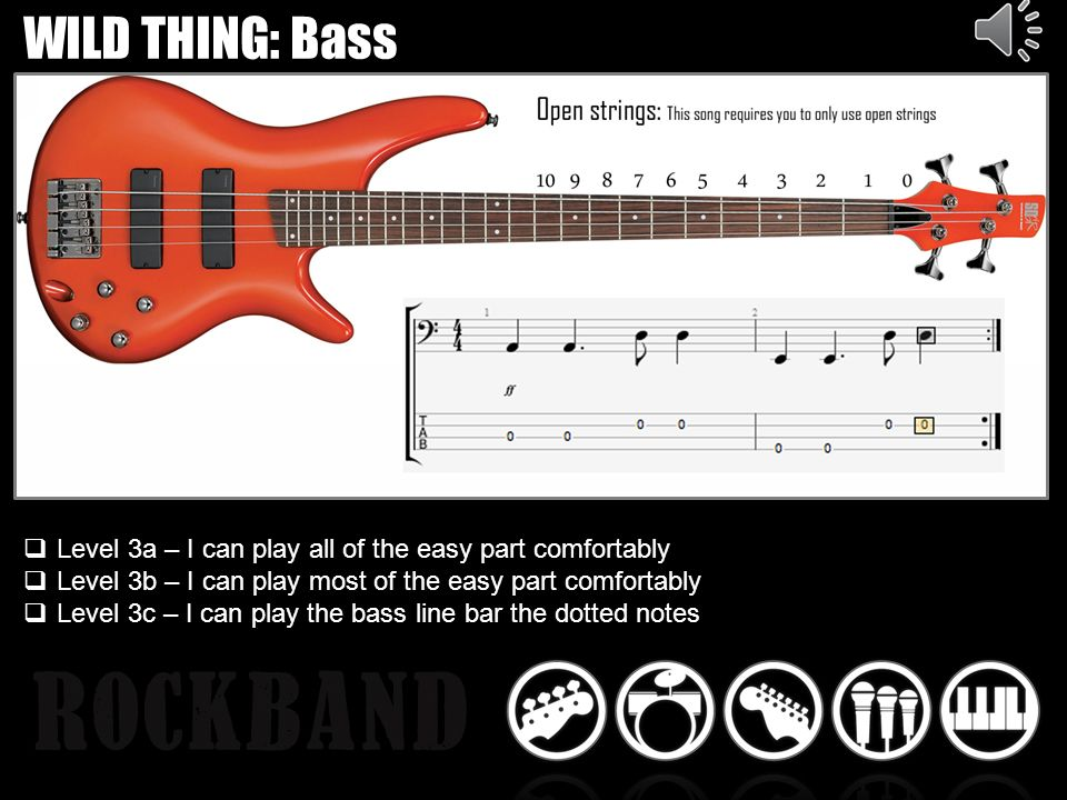 WILD THING: Bass Level 3a – I can play all of the easy part comfortably Level 3b – I can play most of the easy part comfortably Level 3c – I can play the bass line bar the dotted notes
