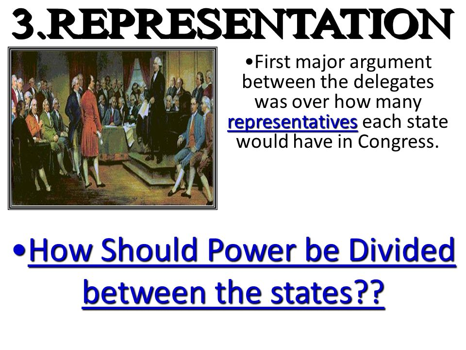 representativesFirst major argument between the delegates was over how many representatives each state would have in Congress. How Should Power be Div