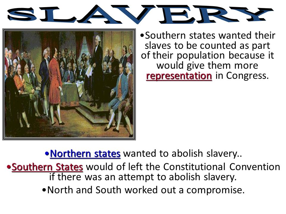 representationSouthern states wanted their slaves to be counted as part of their population because it would give them more representation in Congress