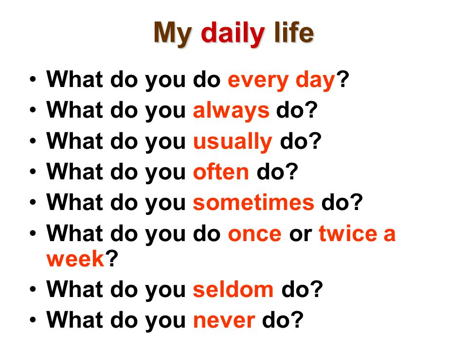 My daily life What do you do every day? What do you always do? What do you usually do? What do you often do? What do you sometimes do? What do you do