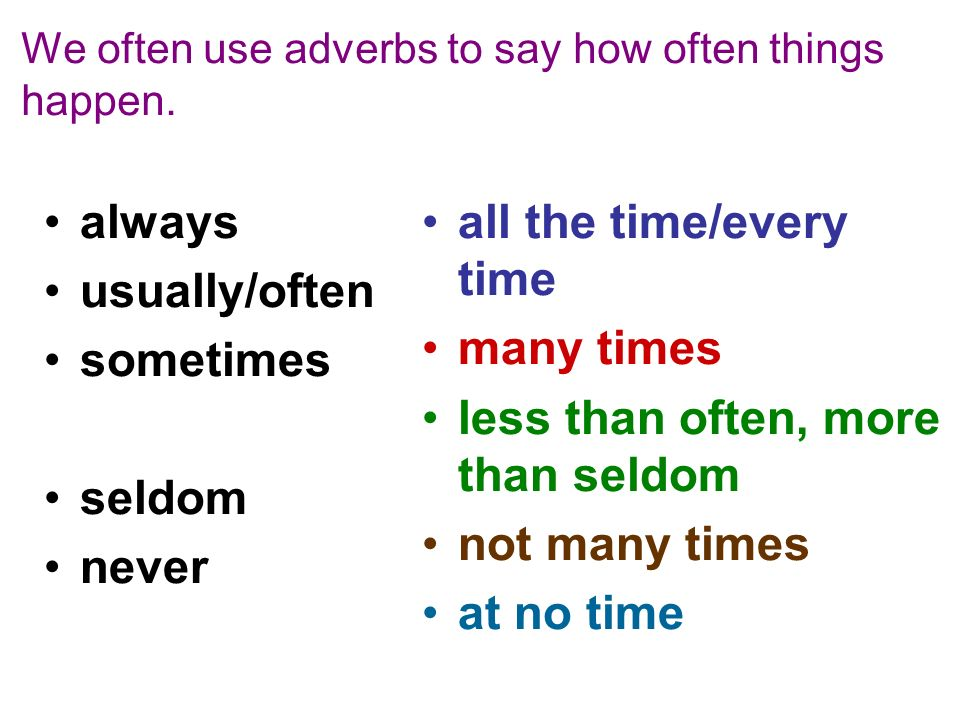 We often use adverbs to say how often things happen. always usually/often sometimes seldom never all the time/every time many times less than often, m