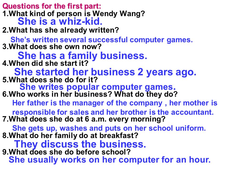 1.What kind of person is Wendy Wang? 2.What has she already written? 3.What does she own now? 4.When did she start it? 5.What does she do for it? She