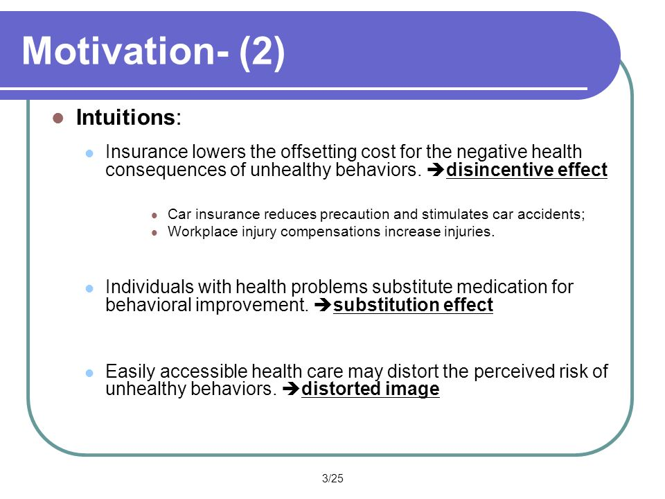 3/25 Motivation- (2) Intuitions: Insurance lowers the offsetting cost for the negative health consequences of unhealthy behaviors.