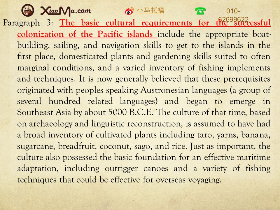 Paragraph 3: The basic cultural requirements for the successful colonization of the Pacific islands include the appropriate boat- building, sailing, and navigation skills to get to the islands in the first place, domesticated plants and gardening skills suited to often marginal conditions, and a varied inventory of fishing implements and techniques.