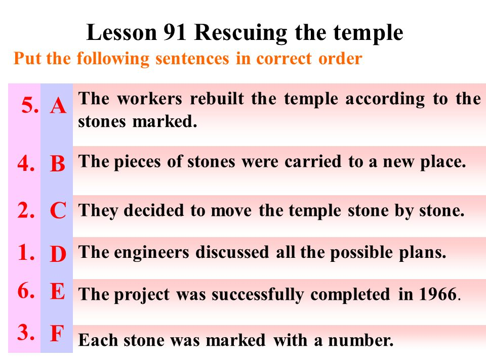 Lesson 91 Rescuing the temple Put the following sentences in correct order The workers rebuilt the temple according to the stones marked.