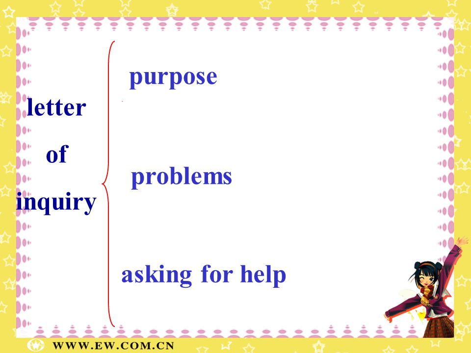 letter of inquiry 1 para 2-3 para 4 para purpose problems asking for help Why does the father write the letter? What problem does the father have? wha