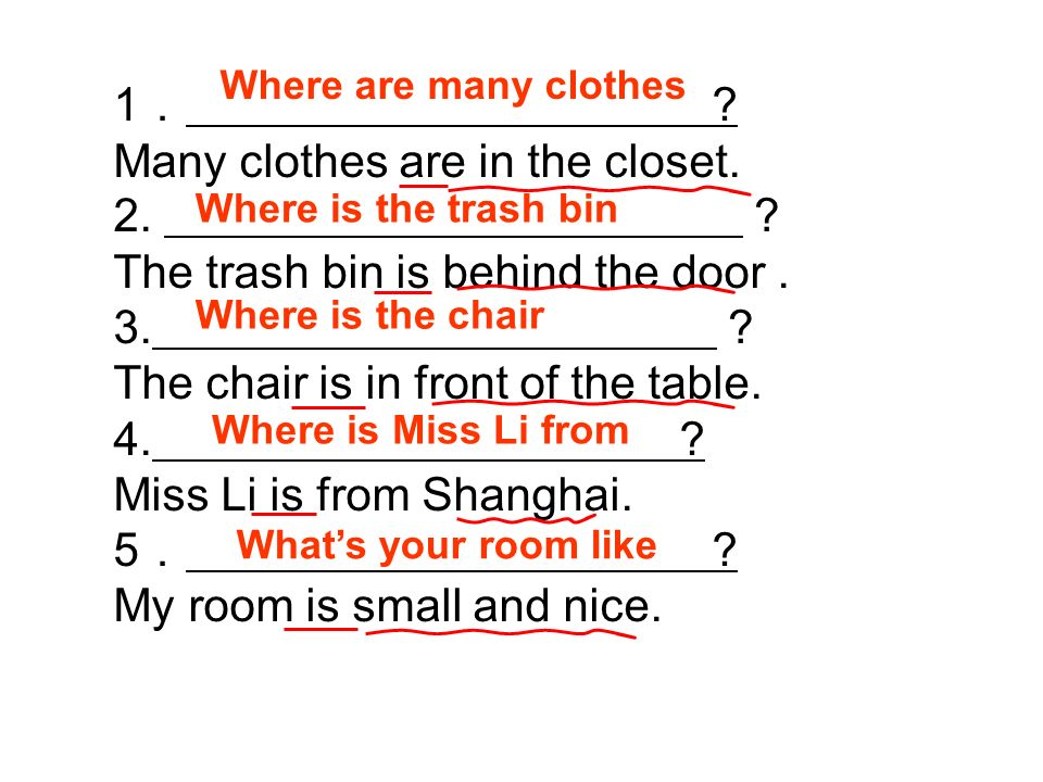 1 . Many clothes are in the closet. 2. The trash bin is behind the door.