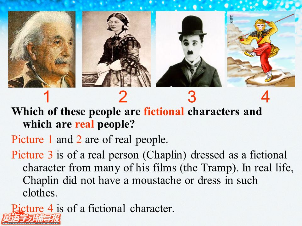 Which of these people are fictional characters and which are real people.
