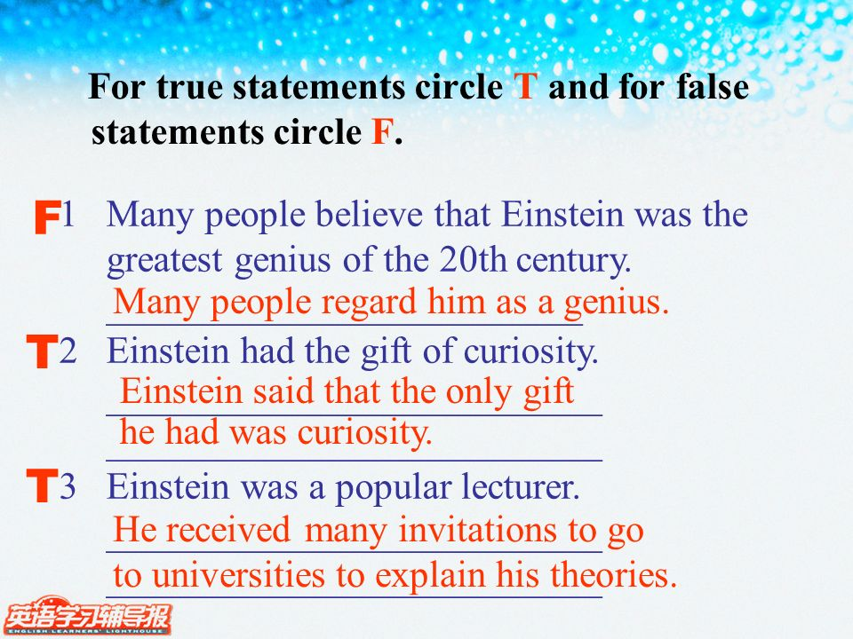 For true statements circle T and for false statements circle F.