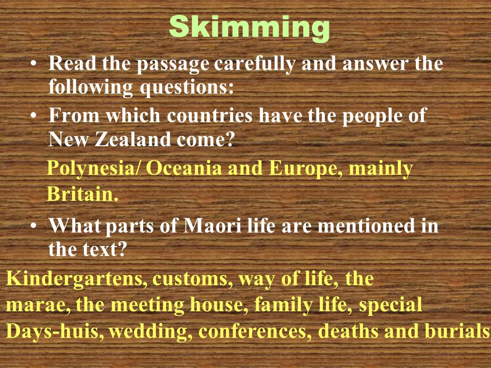 Skimming Read the passage carefully and answer the following questions: From which countries have the people of New Zealand come.