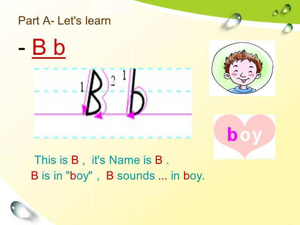 Part A- Let's learn This is B, it's Name is B. B is in
