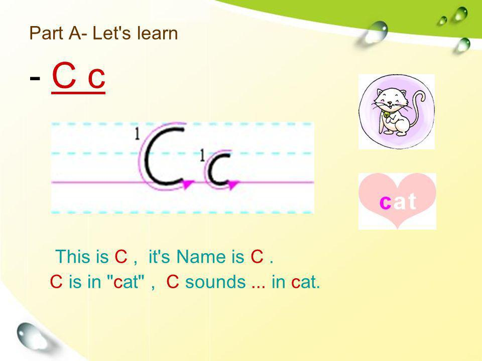 Part A- Let's learn This is C, it's Name is C. C is in