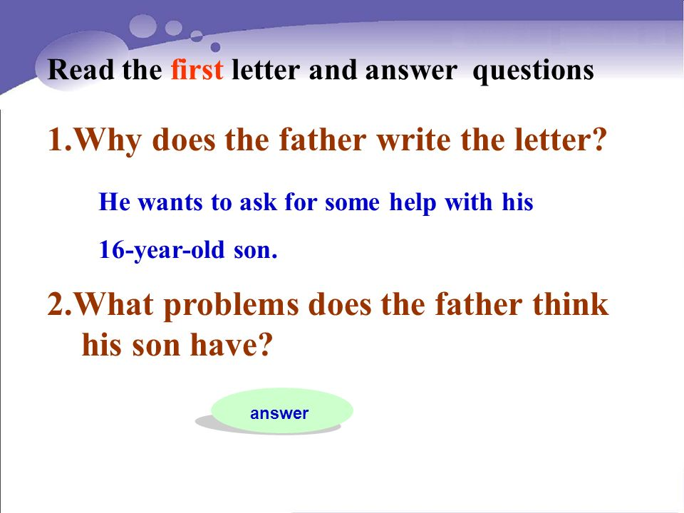 2.What problems does the father think his son have.
