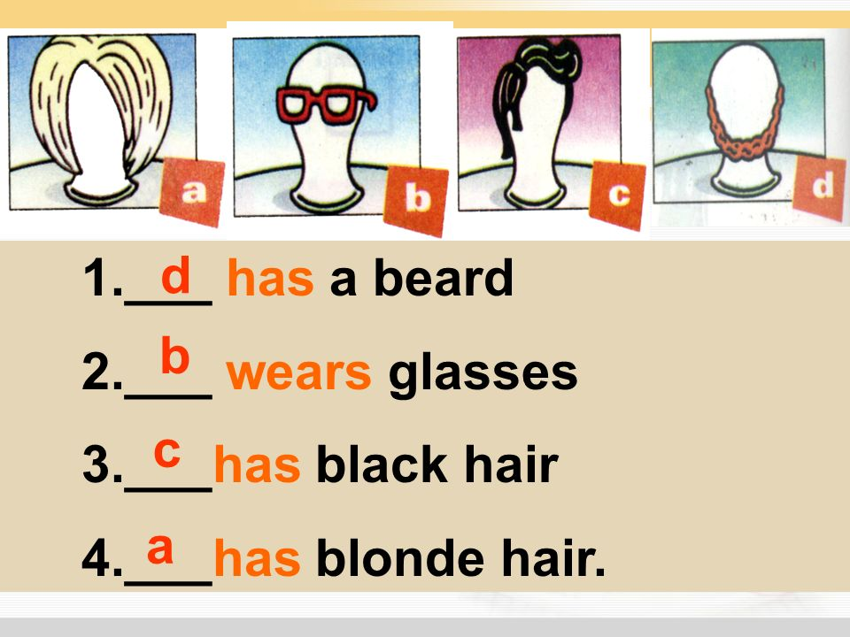 1.___ has a beard 2.___ wears glasses 3.___has black hair 4.___has blonde hair. a b c d
