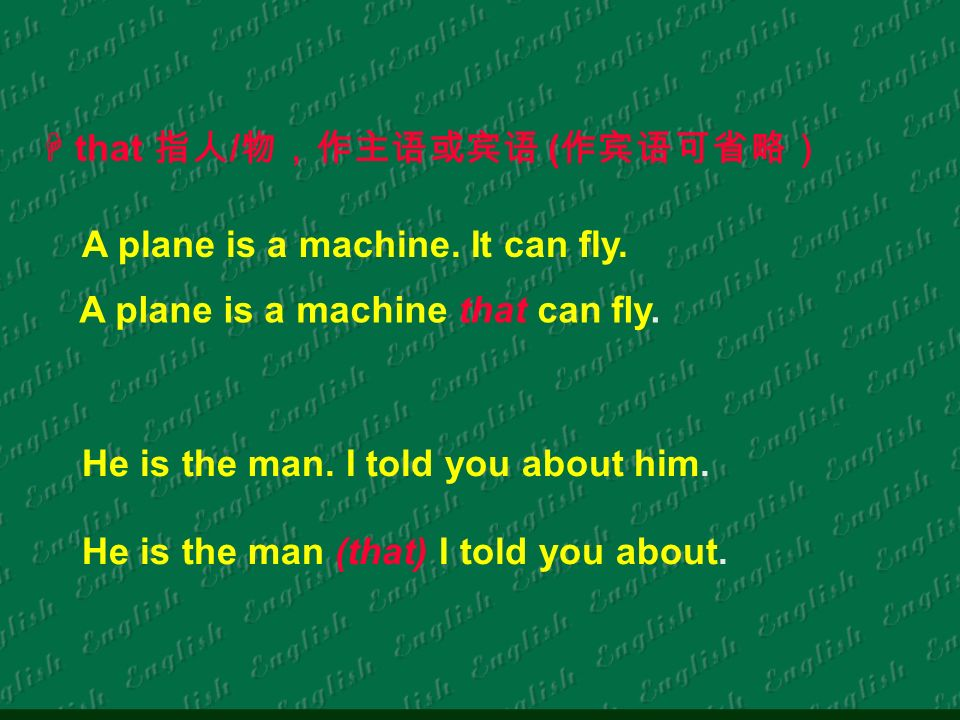 that / ( A plane is a machine. It can fly. A plane is a machine that can fly.