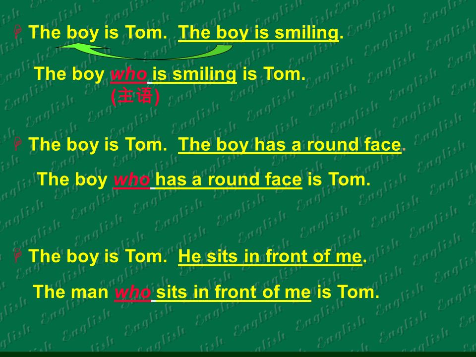 The boy is Tom. The boy is smiling. The boy is Tom.